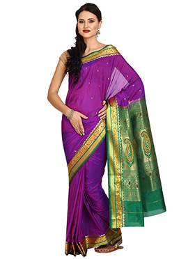 Purple Art Silk Saree