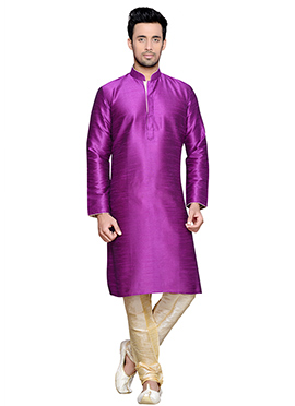 Purple Art Silk Solid Patterned Kurta Pyjama