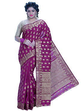 Purple Art Silk Zari Weaved Saree