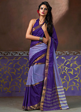 Purple Blended Cotton Saree