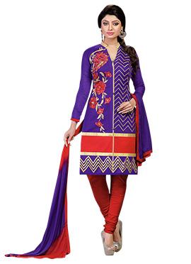 Purple Chanderi Churidar Suit