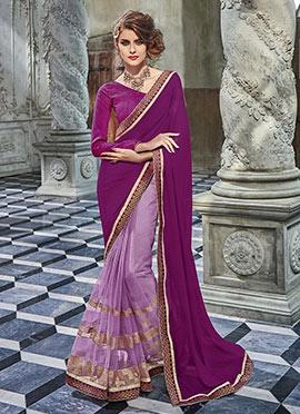 Purple Chiffon N Net Half n Half Saree