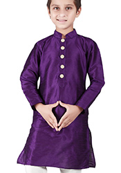 Purple Cotton Silk Kids Kurta Pyjama