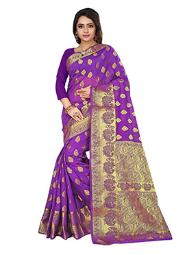 Purple Cotton Zari Weaving Saree