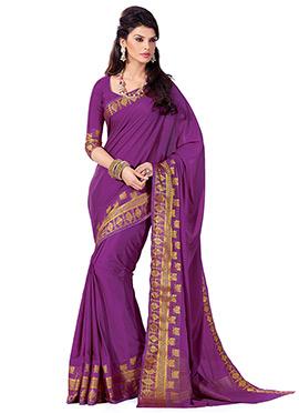 Purple Crepe Silk Saree