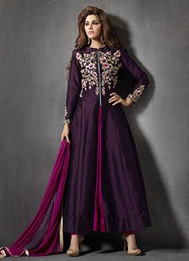Purple Embroidered Kalidar Suit