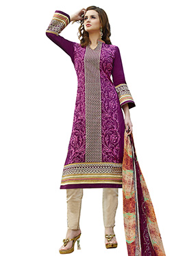 Purple Embroidered Straight Pant Suit
