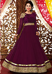 Purple faux georgette ankle length anarkali suit