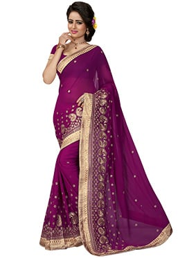 Purple Georgette Embroidered Saree
