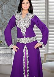 Purple Georgette Plus Size Fustan Dress