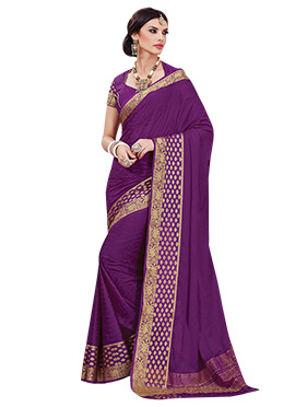 Purple Jacquard Classic Saree