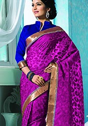 Purple Jacquard Uppada Silk Saree