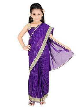 Purple Kids Readymade Saree