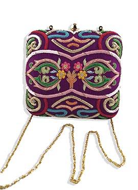 Purple Majrooh Silk Embroidered Box Clutch