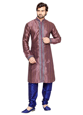 Purple N Beige Art Silk Kurta Pyjama