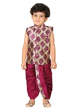 Purple N Beige Silk Blend Boys Sherwani