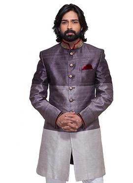 Purple N Grey Raw Silk Indowestern Sherwani