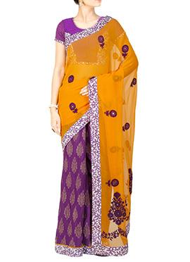 Purple N Mustard Embroidered Half N Half Saree