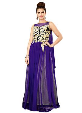Purple Net N Velvet Anarkali Gown