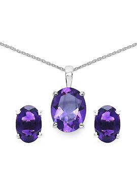 Purple Amethyst Stone Pendant Set