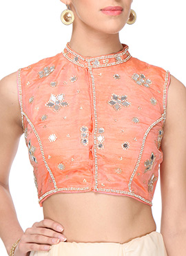 Purple Oyster Embellished Deep Peach Blouse