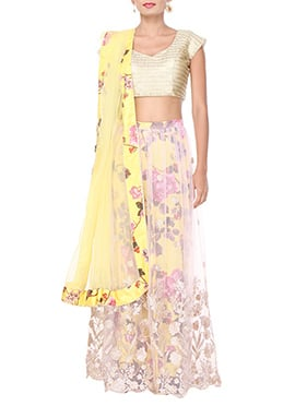 Purple Oyster Net N Satin Lehenga Choli