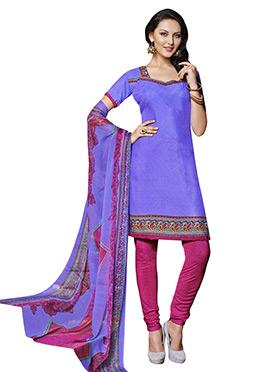 Purple Printed Churidar Suit