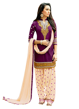 Purple Pure Cotton Embroidered Patiala Suit