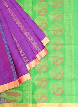 Purple Pure Soft Silk Saree
