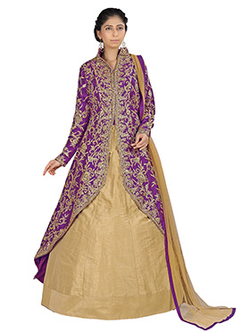 Purple Raw Silk Long Choli Lehenga