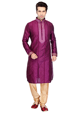 Purple Self Designed Art Dupion Silk Kurta Pyjama