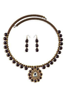 Purple Stone Adorned Choker Necklace Set