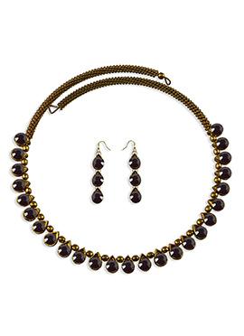 Purple Stone Embellished Choker Necklace Set