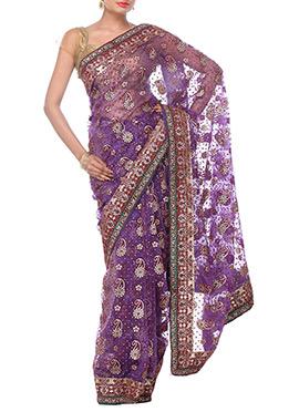 Purple Tissue Border Saree