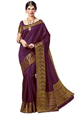 Purple Tussar Silk Saree