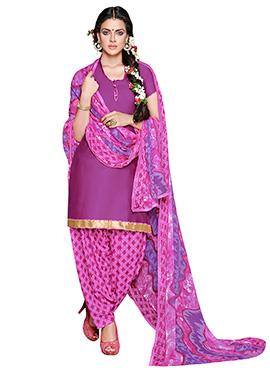 Purplish Pink Crepe Patiala Suit