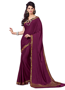 Purplish Wine Crepe Silk Saree