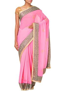 Raksh Boutique Pink Sequins Enhanced Saree