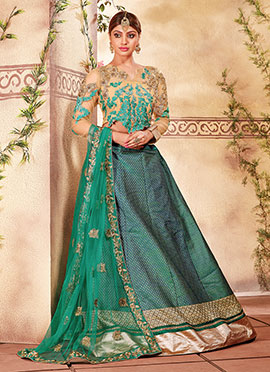 Rama Green Art silk Lehenga Choli