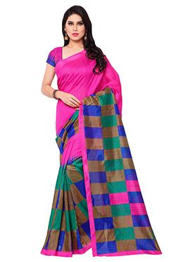 Rani Pink Raw Silk Zari Saree
