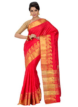 Raw Silk Red Foliage Designed Border Saree