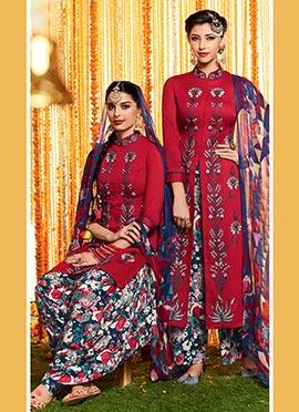 Red Pure Cotton Satin Patiala Suit