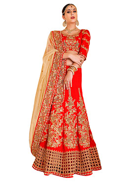 Red Art Dupion Silk Lehenga Choli