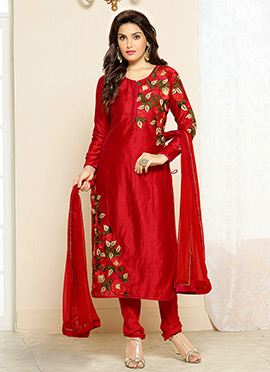 Red Art Silk Embroidered Straight Suit