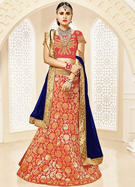 Red Art Silk Foil Printed A Line Lehenga Choli