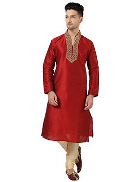 Red Art Silk Kurta Pyjama