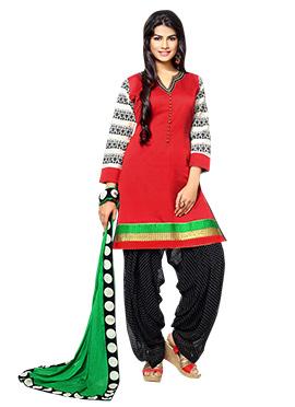 Red Art Silk Patiala Suit