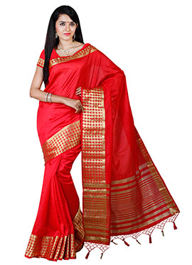 Red Art Tussar Silk Border Saree
