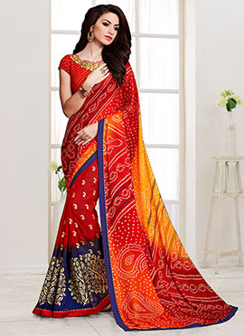 Red Bandhini Half N Half Saree