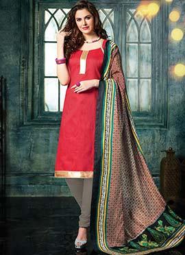 Red Benarasi Jacquard Salwar Suit